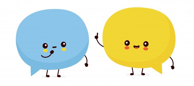 Illustration of 2 speech bubble characters having a chat with each other