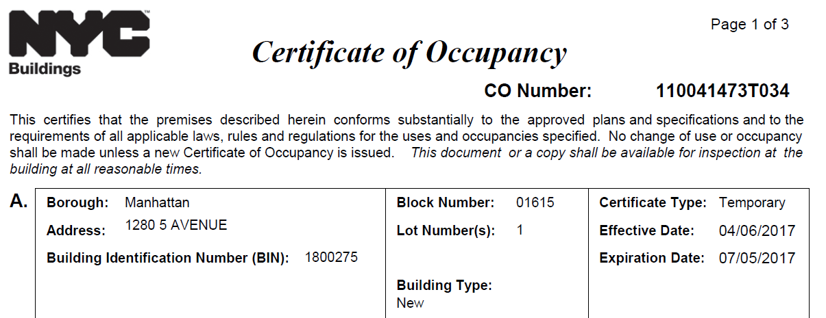 Why Dont We Have A Final Certificate Of Occupancy For 1280