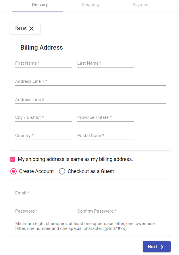 Sample checkout form