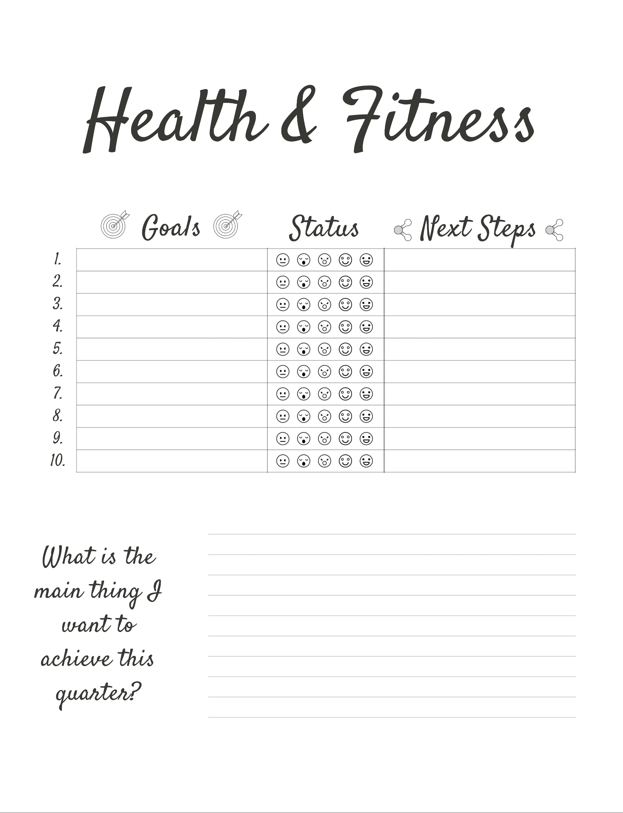 Goal tracking journal example for Health & Fitness category.