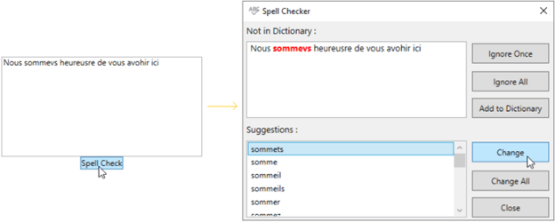 Spell Check with French Dictionary