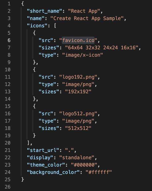 The manifest.json file, which includes important metadata about our app