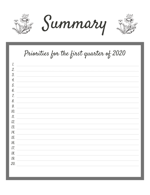 Goal prioritization journal example for the first quarter of 2020.