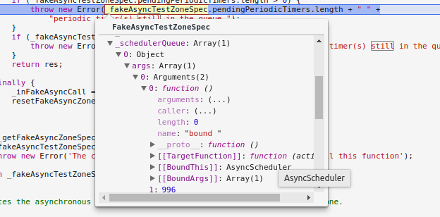 Angular: Testing async stuff in the fakedAsync zone VS