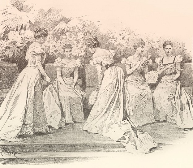 Drawing of the ladies' cercle. Maria Josepha sits on a dais, talking to two women standing near her.