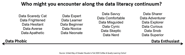 """Titled """"Who might you encounter along the data literacy continuum?"""", a line extends from """"Data phobic"""" to """"Data enthusiast"""""""