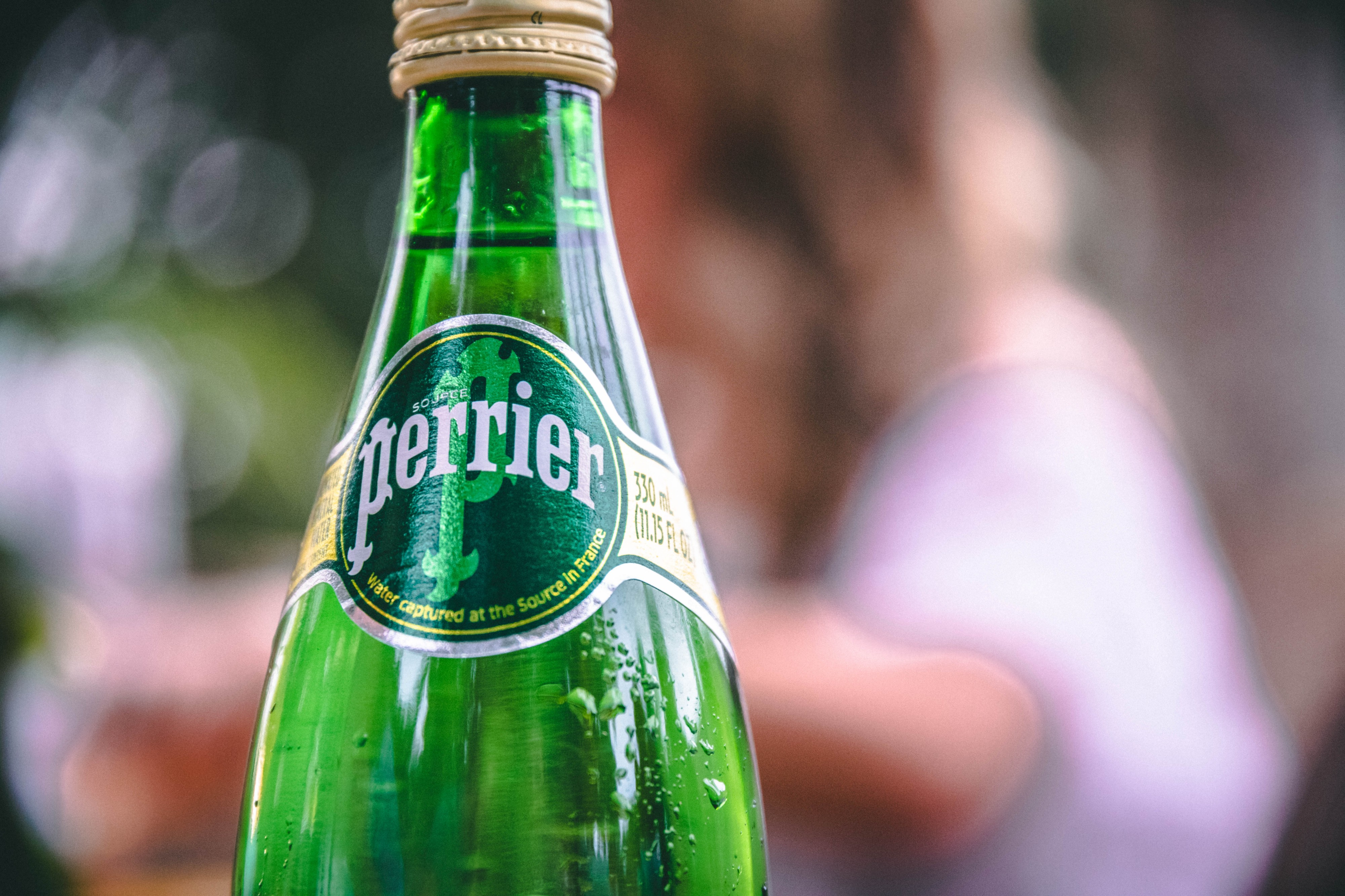 A bottle of Perrier.