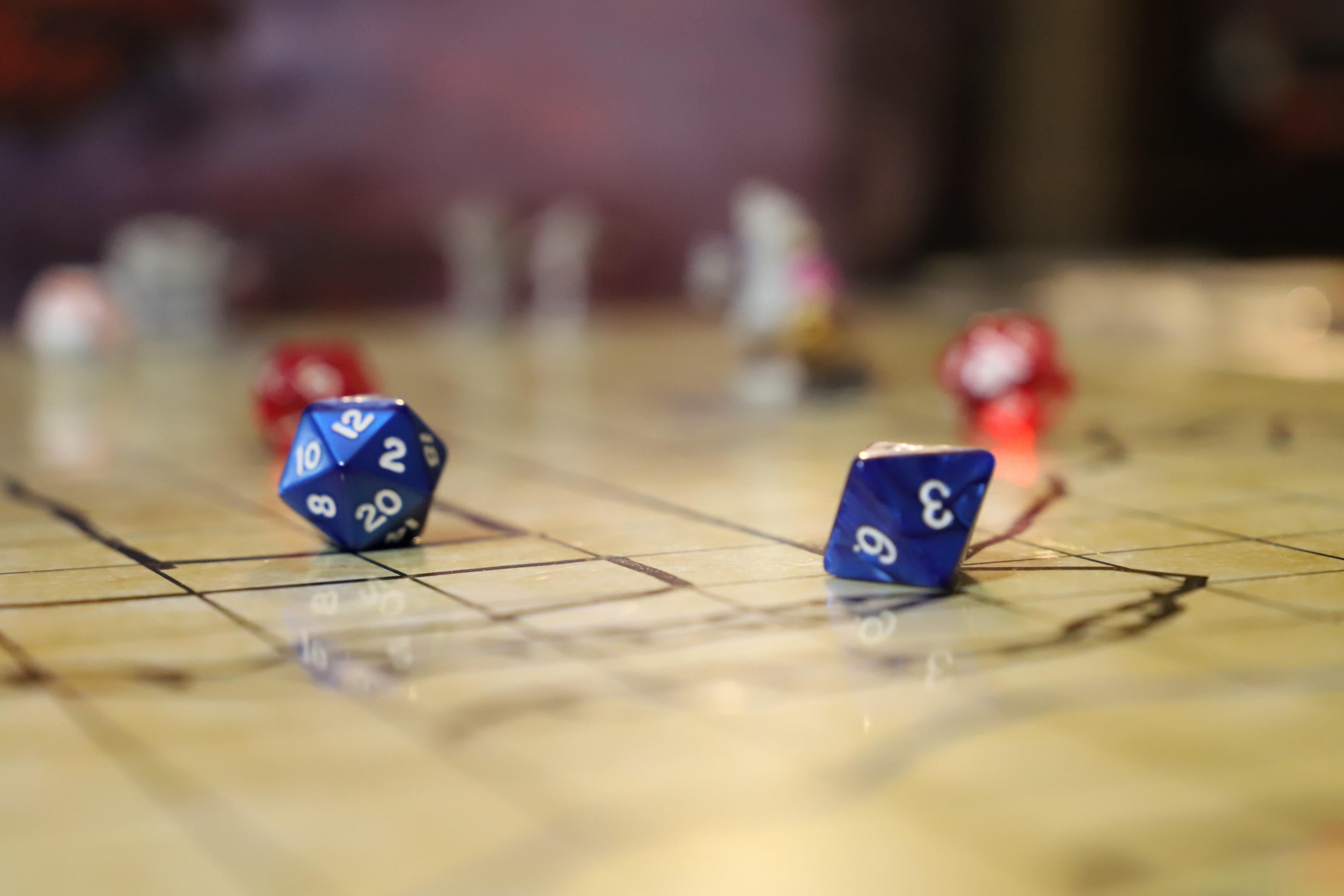 Photo taken by Melinda Garza of a D20 and a D10 dice