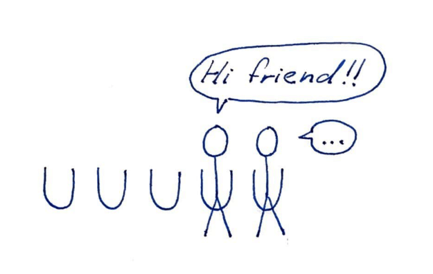 """One stick figure peeing at a urinal right next to another stick figure. One says, """"Hi friend!"""" The other says, """"…"""""""