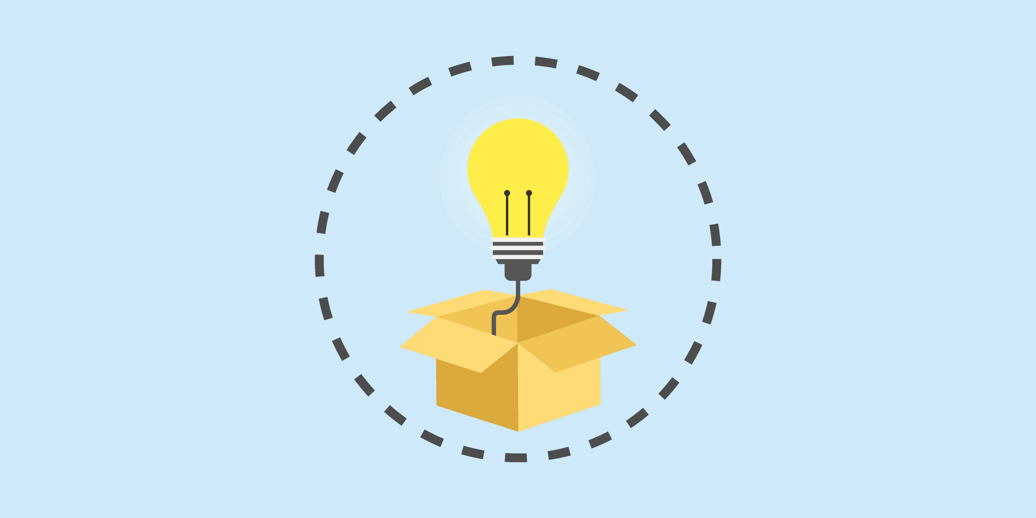 Light bulb coming out of a box.
