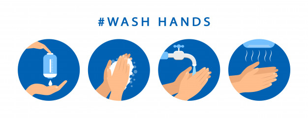 An image showing 4 stages of washing your hands