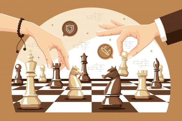 Vector image of two people playing chess