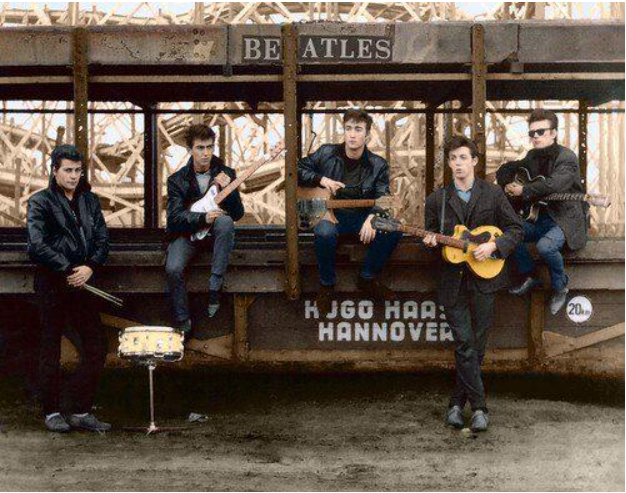 Famous photo of the Beatles in Hamburg as 5 member band with Pete Best and Stuart Sutcliffe in add to John, Paul, George.