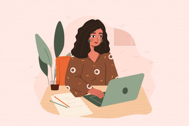 An illustration of a woman typing at her desk with a green laptop.