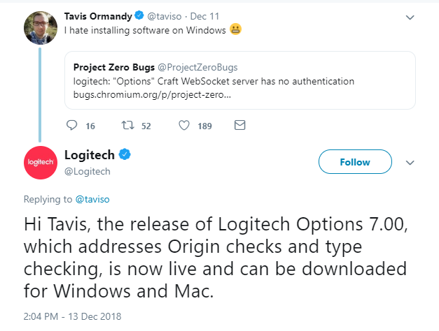 Zero Day Vulnerability in Logitech Software Finally Patched