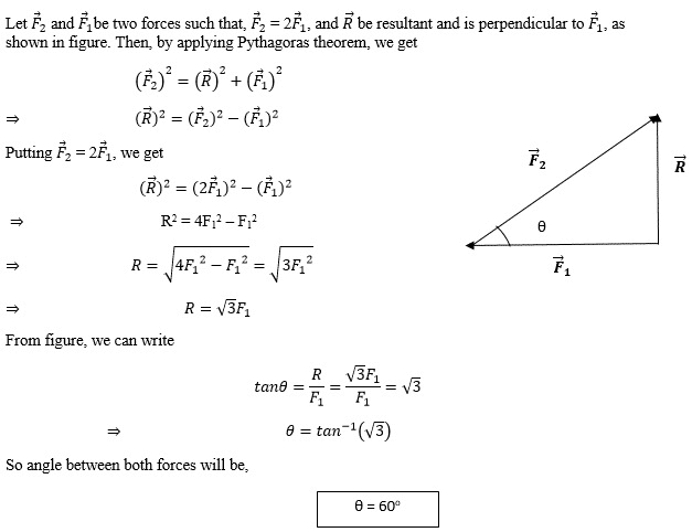 The resultant of two vectors, one is double in magnitude than the other, is perpendicular to the smaller force. What is the angle between the two forces?