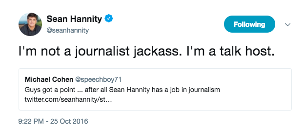 Sean Hannity claiming to not be a journalist.
