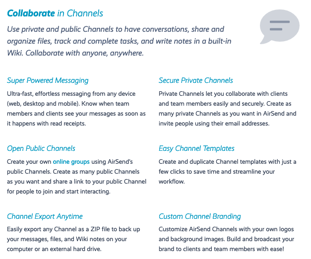 AirSend channels.