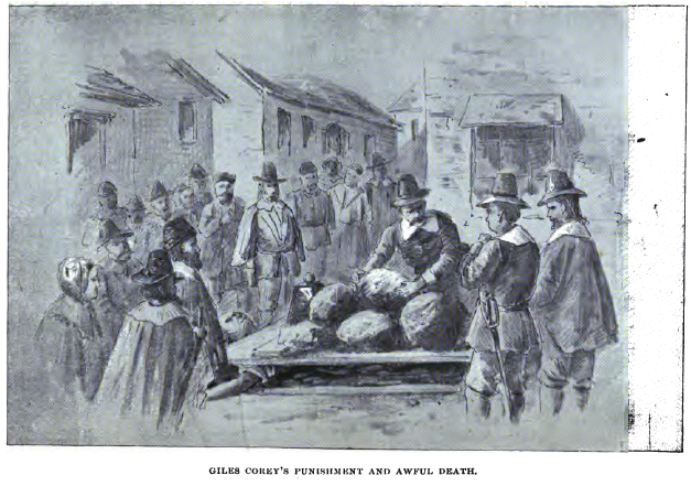 Salem witch trials: Giles Corey is crushed to death with large stones for refusing to answer the court's questions