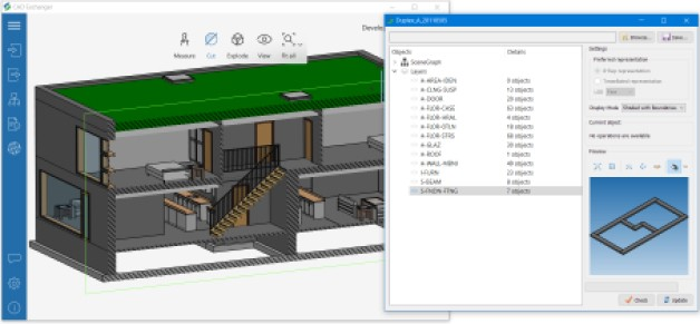 Fig. 3. 3D model with layers. Left: IFC model of a duplex building with layers. Right: layers are specified for collections of objects, representing furniture, walls, floors, window glasses; building foundation layer is selected.