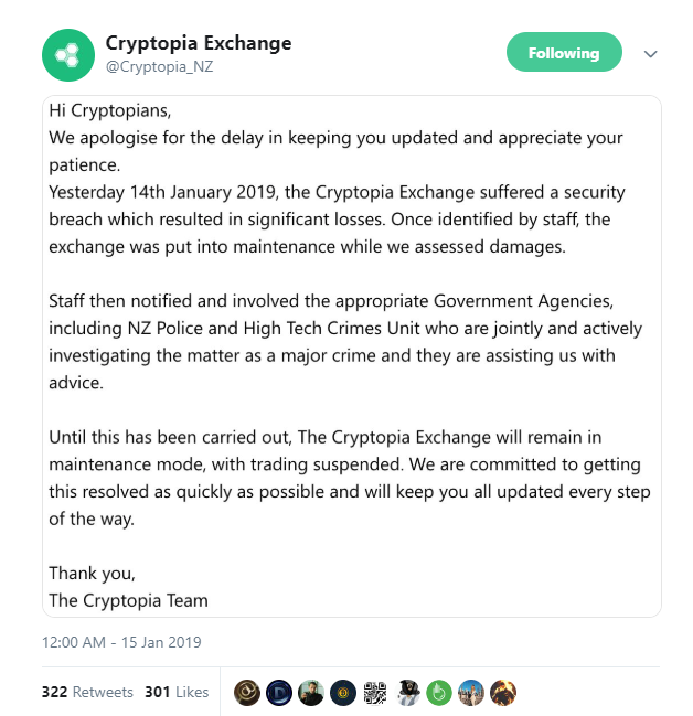Cryptopia Hacked— Major Exchange Reports 'Significant' Losses