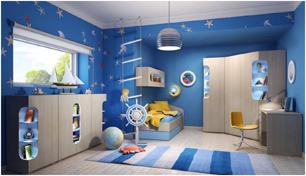 Blue shades in interior design, rules and tips. Best ideas.