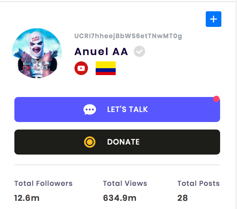 The YouTube channel of Anuel AA has over 12.6 million subscribers.