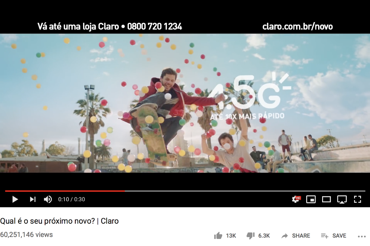 Claro Brasil's 30-second commercial video has gained 60 million views.
