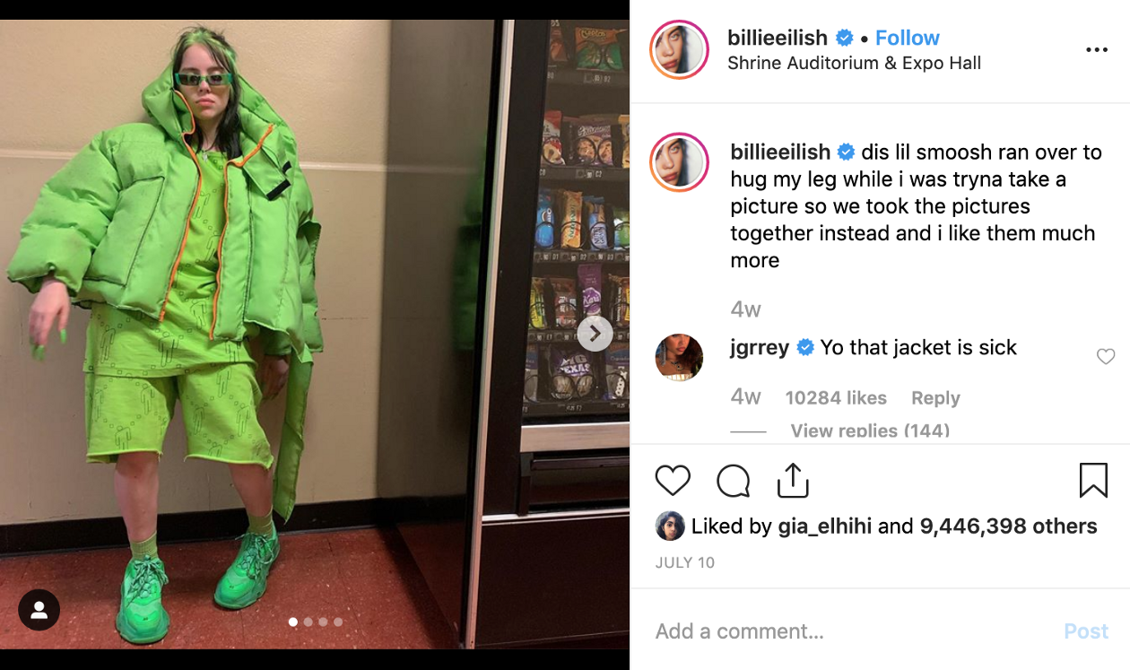Billie Eilish has 4 posts rank in top 10 of 2019 July.