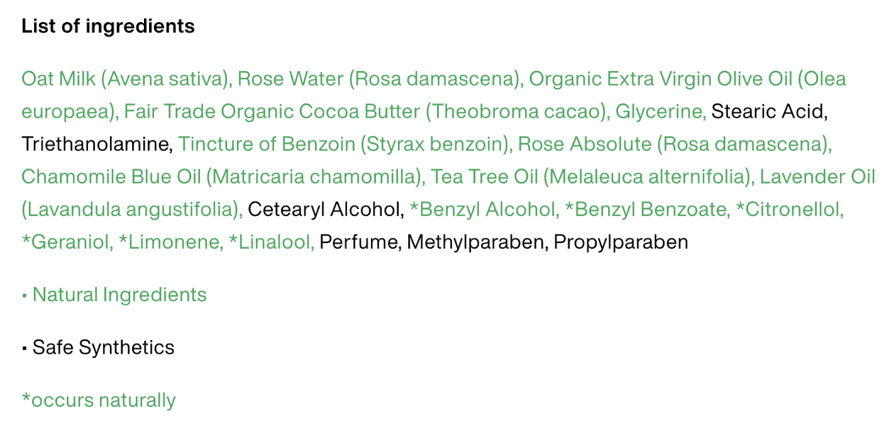 """The ingredients list of """"Dream Cream"""", a body lotion by LUSH. The ingredients lists for all of LUSH's products follow a similar format."""