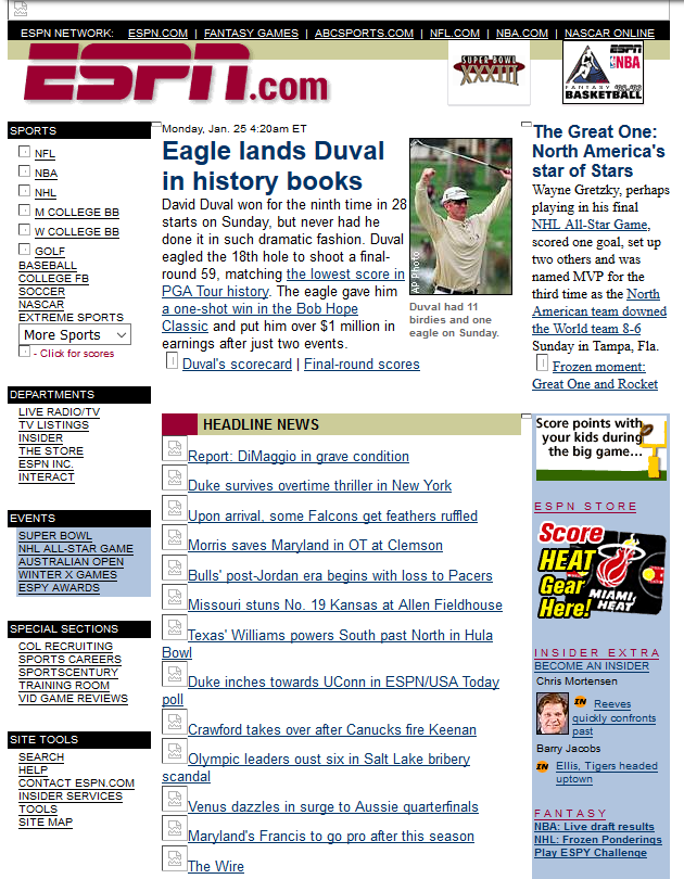 Screenshot of ESPN homepage from 1999. Looks very antiquated, shows old style website.