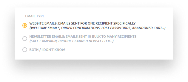 Type of email address