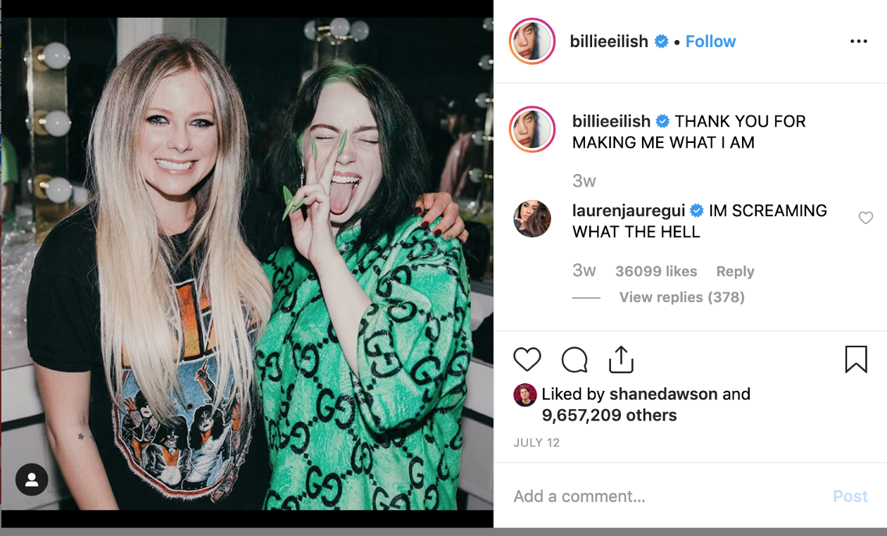 The two shot of Billie Eilish and Avril Lavigne