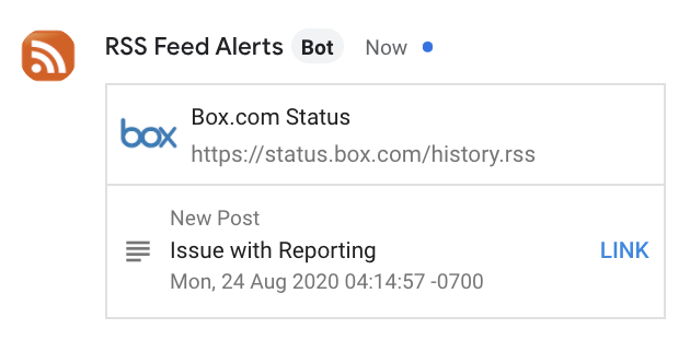 Screenshot of a sample notification from the Box Status page as it appears in Google Chat.