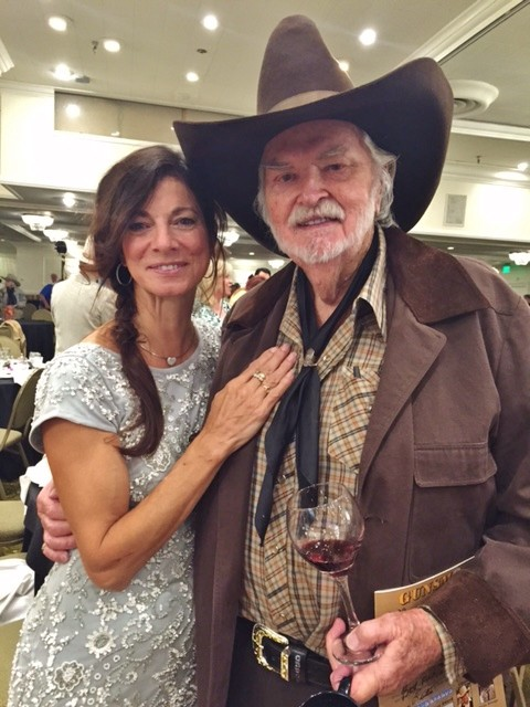 "76b7a4c6 Goldie Taylor, wife of Buck Taylor, best known as ""Gunsmoke's"" long-running  gunsmith-reserve deputy Newly O'Brien, corrals a robust-looking Gregg  Palmer for ..."