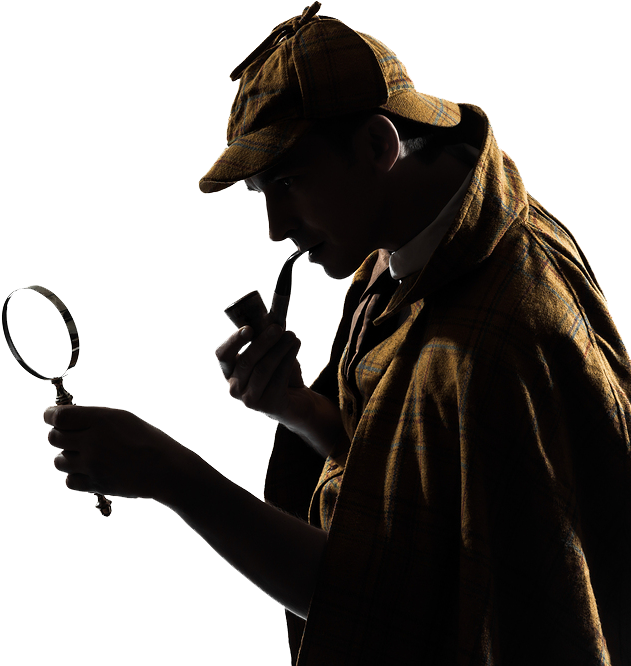 Image of Sherlock Holmes holding a magnifying glass and pipe