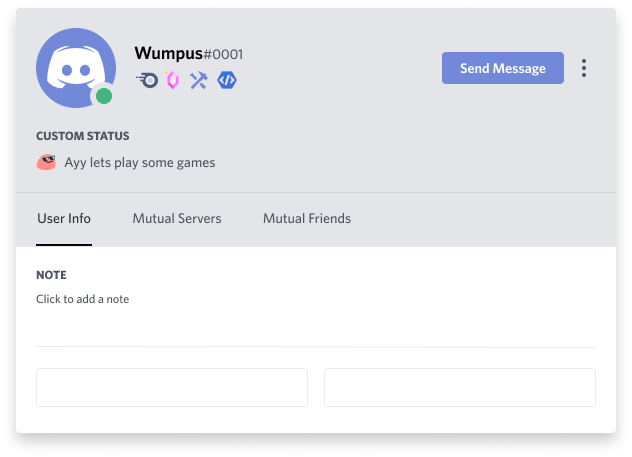 A new Verified Bot Developer Discord badge, which looks like a closing HTML tag inside a hexagon