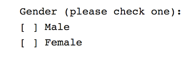 A form asking for gender with only two options: Male and Female