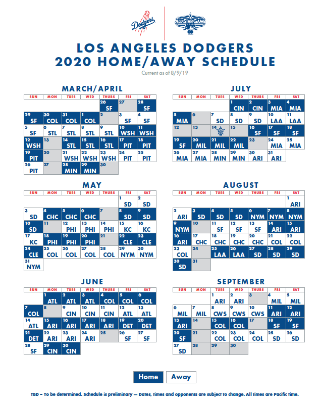 Dodgers Calendar Schedule 2021 Dodgers' 2020 schedule announced. Season starts at home March 26