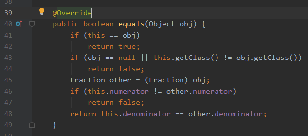 An equality function in IntelliJ IDEA. The text of this image will be repeated in the article as plain text.