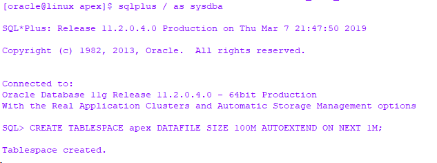Installing APEX 5 on an 11g OCI DB Systems running in Oracle Cloud