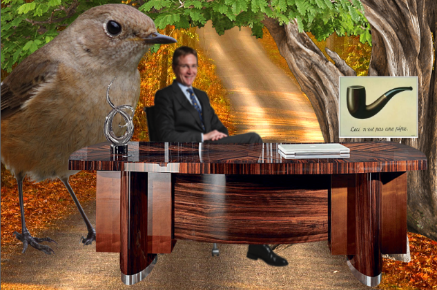 """Pictured: A man sitting by a desk in the middle of a dirt road next to an unnaturally large bird. On a tree next to them is a picture of This Is Not A Pipe by René Magritte, which is a picture of a pipe captioned """"This is not a pipe"""", pointing out how it is in fact a picture of a pipe."""