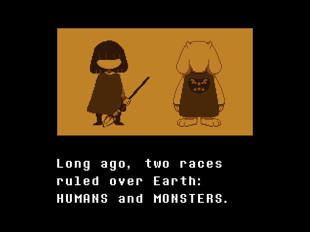 """A human stands beside a monster. Text reads """"Long ago, two races ruled over the Earth: HUMANS and MONSTERS."""""""