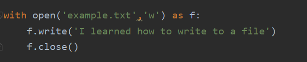 with open('example.txt','w') as f:  f.write('I learned how to write to a file')  f.close()