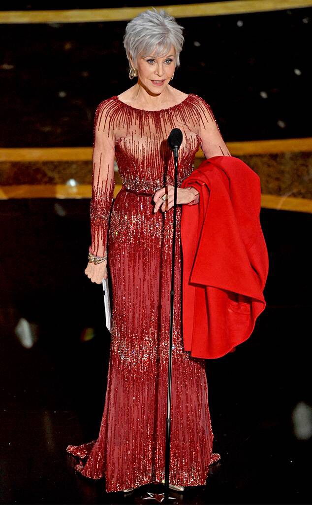 Jane Fonda in a gorgeous red gown at the Oscars 2020