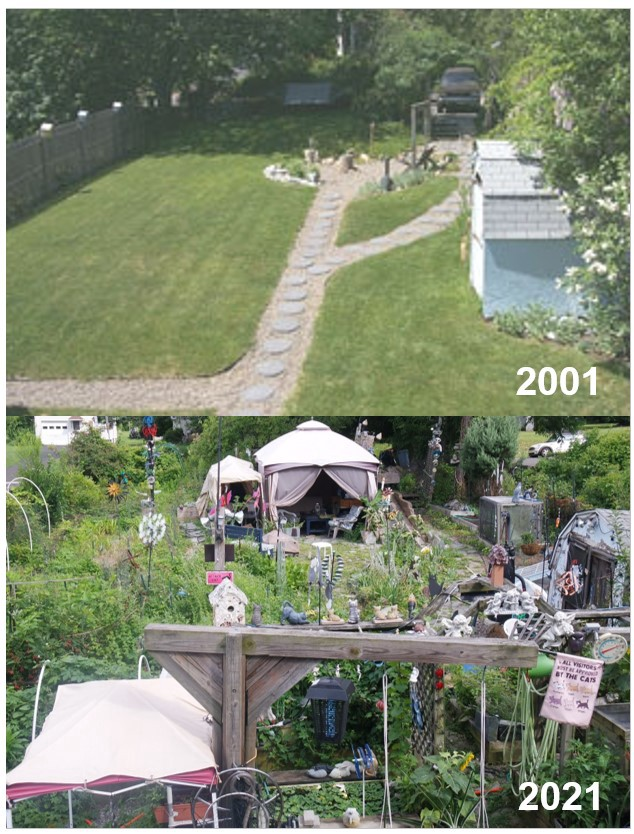 Two photos showing the evolution of my Obcessive-Compulsive-Garden from 2001 to 2021