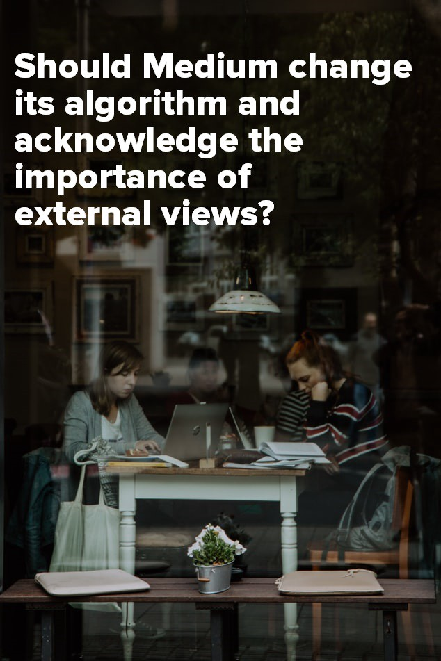 Pinterest image for sharing of people on their laptops in a cafe for the article—Should Medium Change Its Algorithm And Acknowledge The Importance Of External Views?