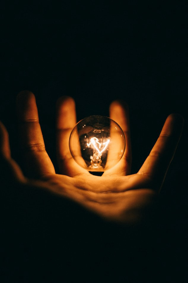 Lightbulb in human palm