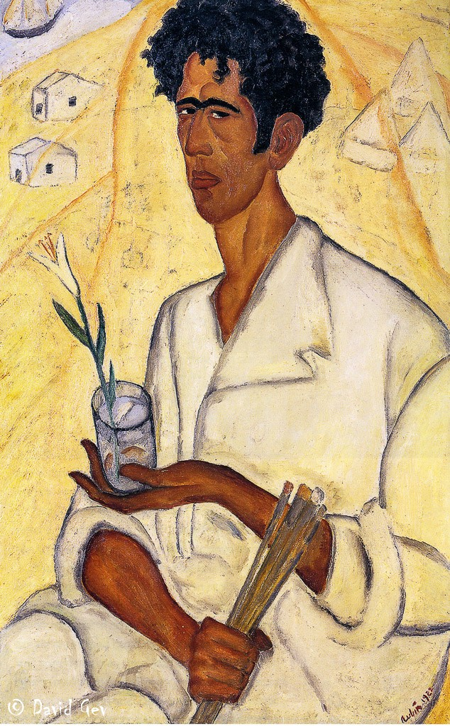Self Portrait with a Flower, 1922, Reuven Rubin, Private Collection
