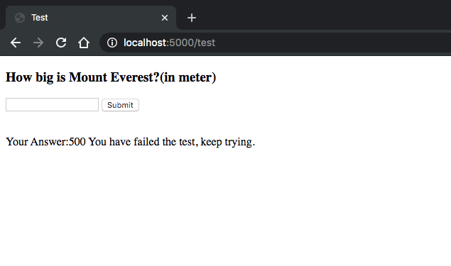failure message from server if entered height is wrong.
